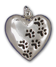 Heart with Paw Prints Charm
