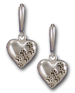 Heart with Paw Prints Earrings