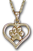 Heart with Paw Print Pendant