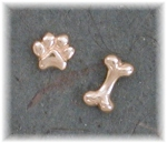 CBPE14E- Combination Bone/Petite Paw Print Post Earrings