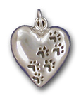 HRTPS10- SM Heart w/Paw Prints Charm/Pendant/Pin